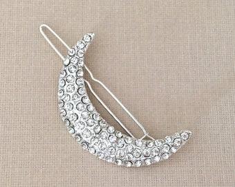 Silver Crescent Moon Hair Clip.Crescent Moon Barrette.Silver Crescent Moon Barrette.Bridal headpiece.Moon hair accessory.wedding hair piece