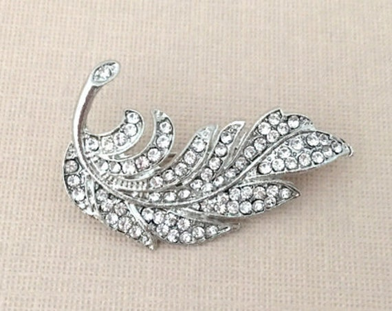 Small Rhinestone Feather Brooch Pin