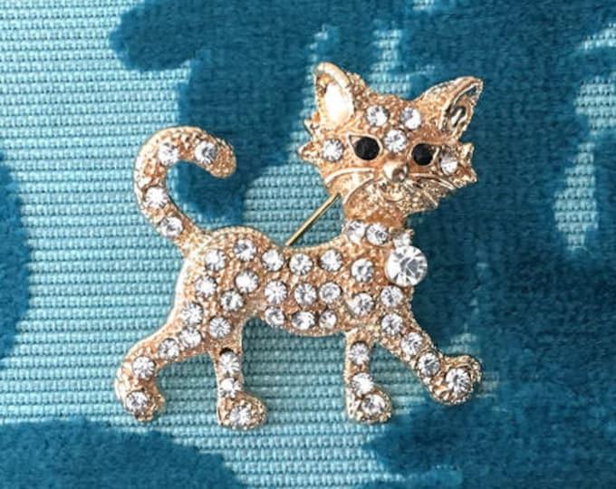 Gold Cat Rhinestone Brooch Pin