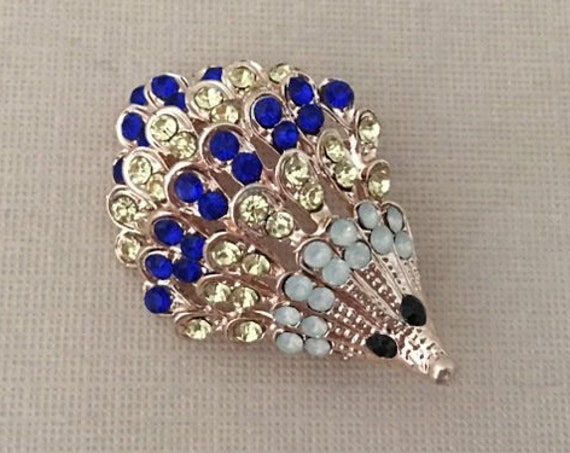 Blue Hedgehog Rhinestone Brooch Pin