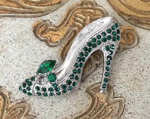 Green High Heel Shoe Brooch Pin