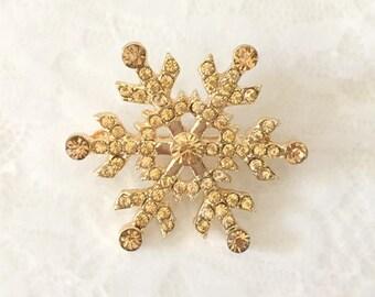 Snowflake Brooch.Gold Snowflake Brooch.Snowflake Rhinestone Brooch.Gold Snowflake pin.Gold snowflake broach.Champagne Gold Snowflake Brooch