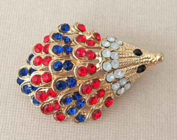 Red & Blue Hedgehog Brooch Pin