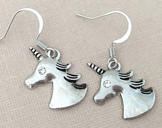 Rhinestone Unicorn Dangle Earrings