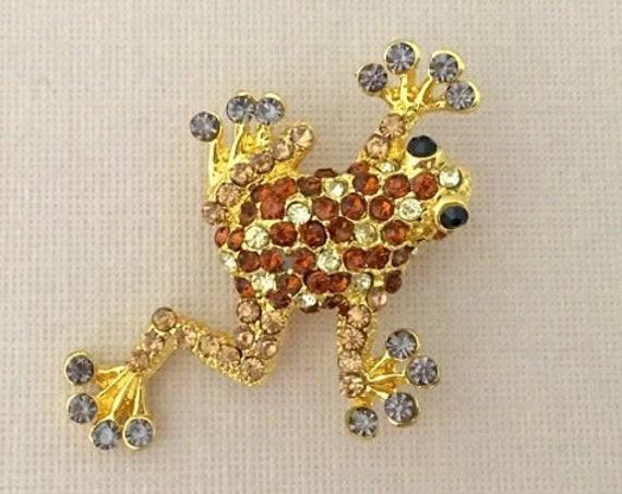 Brown Rhinestone Frog Brooch Pin