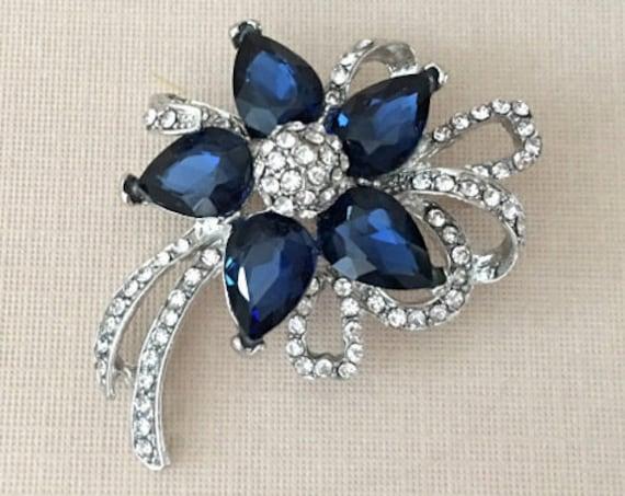 Navy Blue Crystal Flower Brooch Pin