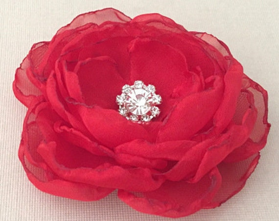 Red Fabric Flower Hair Clip or Brooch Pin. Choose size & button/bead finish. Handmade.