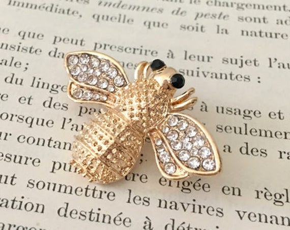 Rhinestone & Gold Bee Brooch Pin