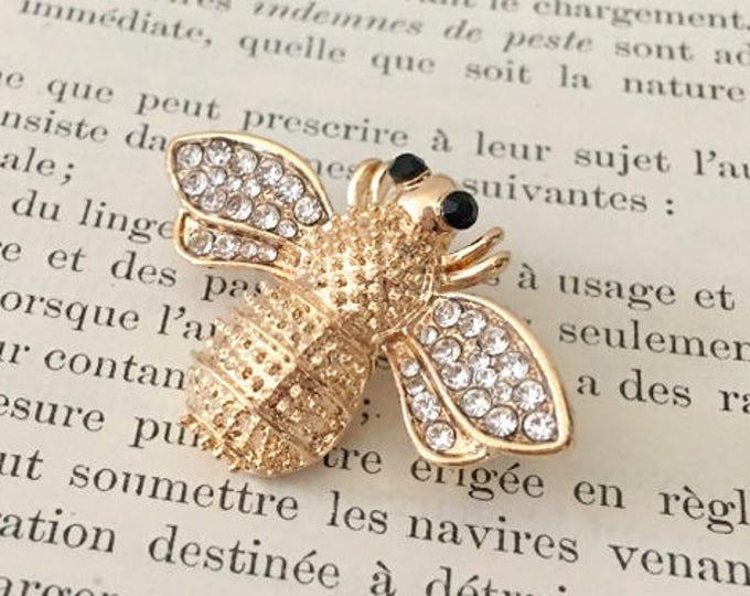Rhinestone & Gold Bee Brooch Pin