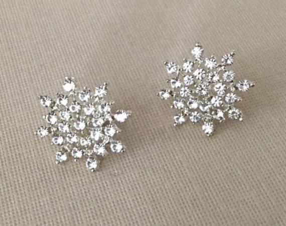 Silver & Rhinestone Snowflake Earrings