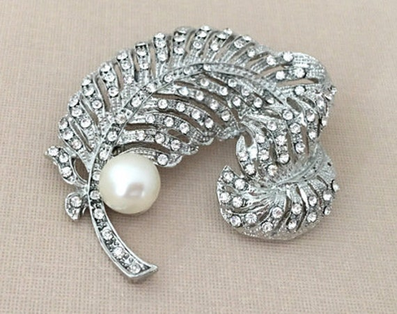 Pearl, Rhinestone Feather Brooch Pin