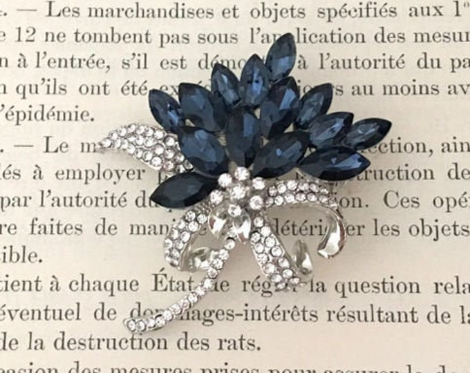 Navy Blue, Clear, and Platinum Tone Rhinestone Brooch Pin