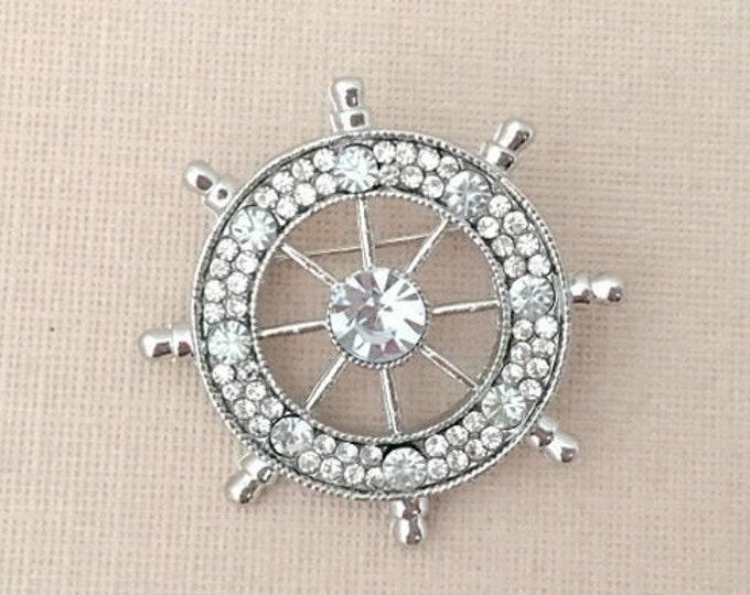 Silver Platinum Ships Wheel Brooch Pin
