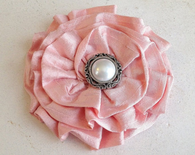 Blush Pink Silk Fabric Flower Brooch Pin and/or Hair Clip. Choose your button/bead finish. Handmade.