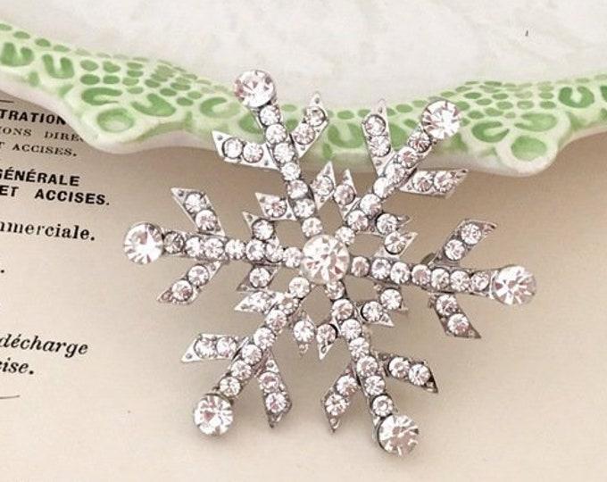 Snowflake Rhinestone Brooch Pin