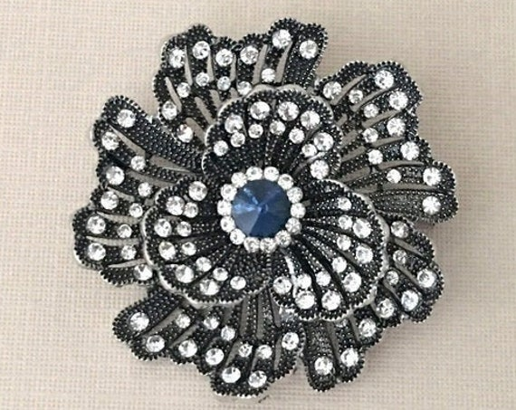 Navy Blue Camellia Rhinestone Brooch Pin