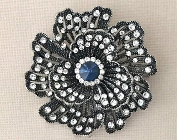 Navy Blue Camellia Rhinestone Brooch Pin