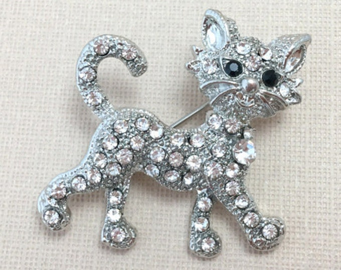 Silver Cat Rhinestone Brooch Pin