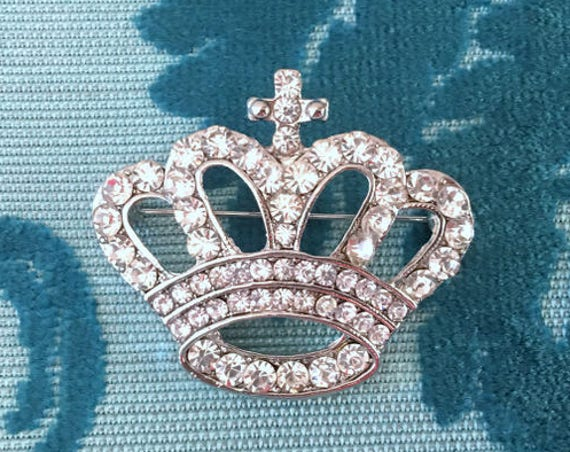 Rhinestone Crown Brooch.Silver Crown Brooch.wedding pin.crown broach.bridal accessory.crystal crown.Crown Pin.Vintage Style.Classic Style