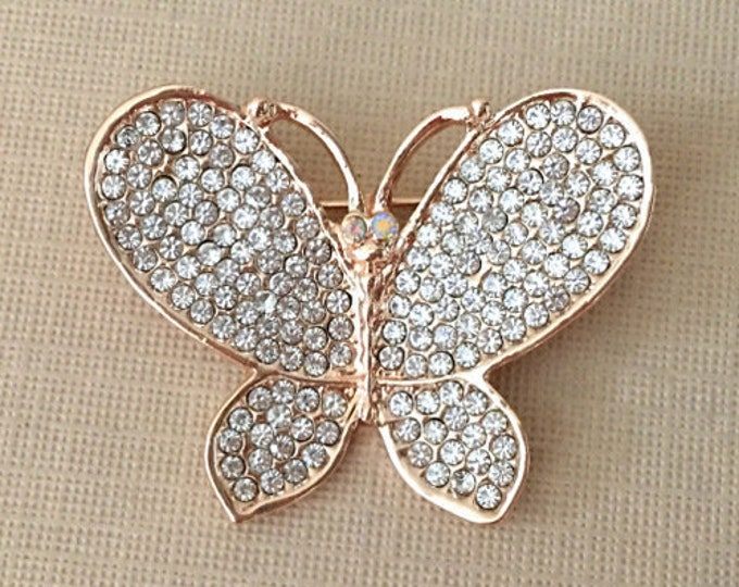 ROSE GOLD Butterfly Rhinestone Brooch Pin