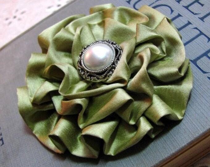 Celery Green Silk Flower Hair Clip or Brooch Pin. Choose button/bead finish. Handmade.