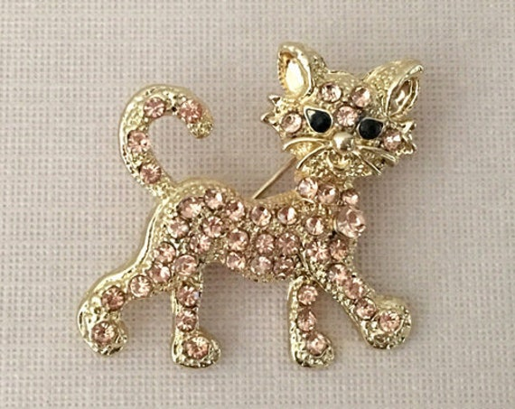 Gold & Rhinestone Cat Brooch Pin