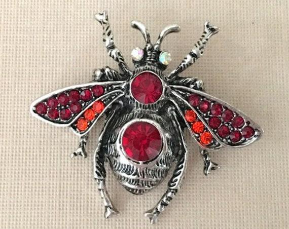 Red Rhinestone Bee Brooch Pin