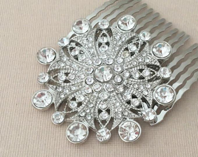 Silver Crystal Hair Comb.Crystal Hair Comb.Rhinestone Hair Comb.Vintage Style.hair accessory.wedding hair piece.bridal headpiece.Edwardian