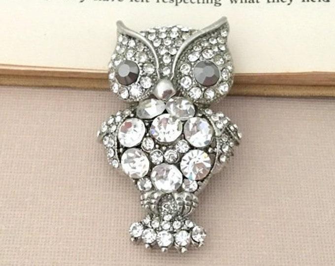 Owl Rhinestone Brooch Pin