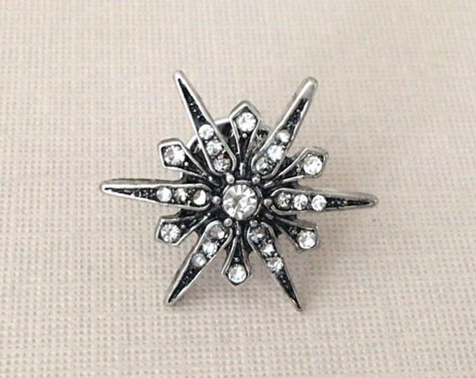 Antique Silver Starburst Lapel Pin (clutch pin)