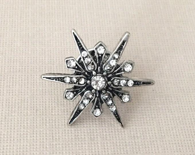 Antique Silver Starburst Lapel Pin