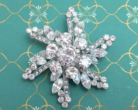 Rhinestone & Platinum Starburst Brooch Pin and Pendant