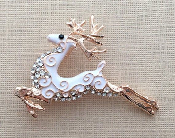 Rose Gold Reindeer Brooch Pin