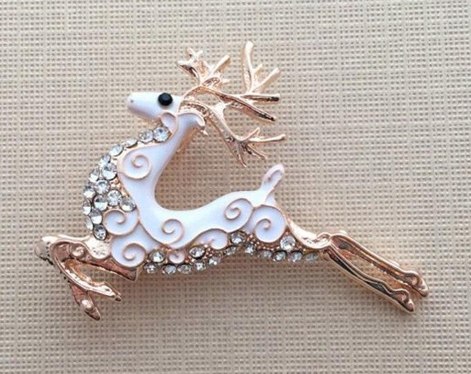 Rose Gold Reindeer Brooch Pin