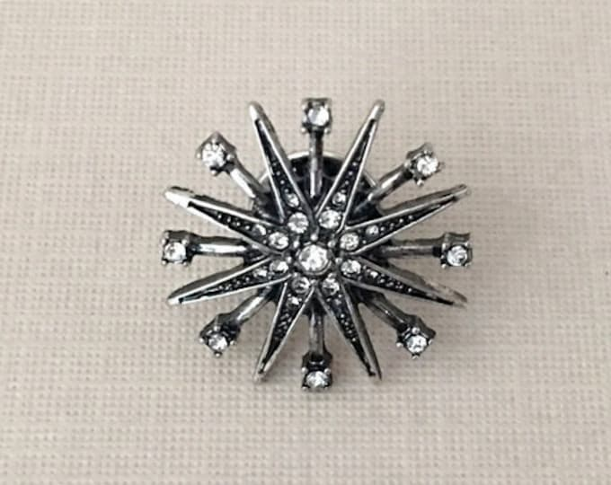 Small Silver Starburst Lapel Pin (clutch pin)
