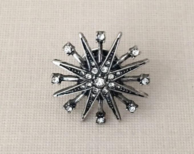 Small Silver Starburst Lapel Pin