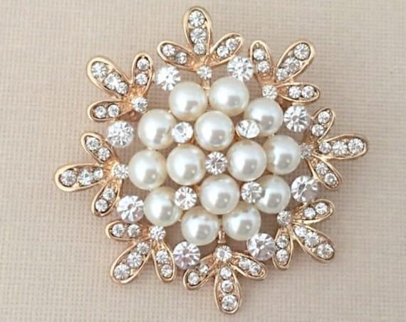 Gold Pearl Snowflake Brooch Pin