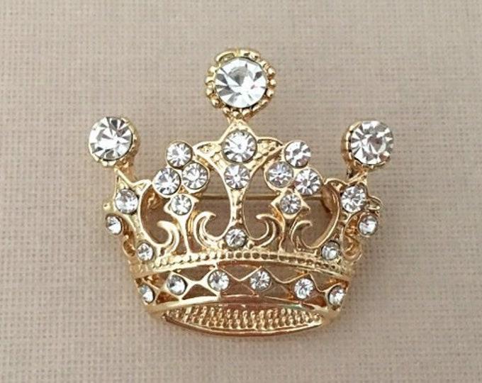 Gold & Rhinestone Crown Brooch Pin