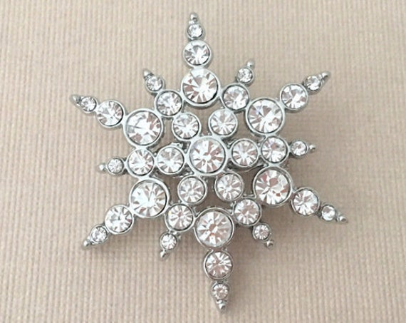 Small Snowflake Rhinestone Brooch Pin