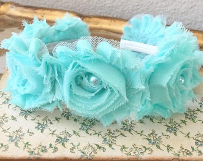 Aqua Chiffon Flower Headband