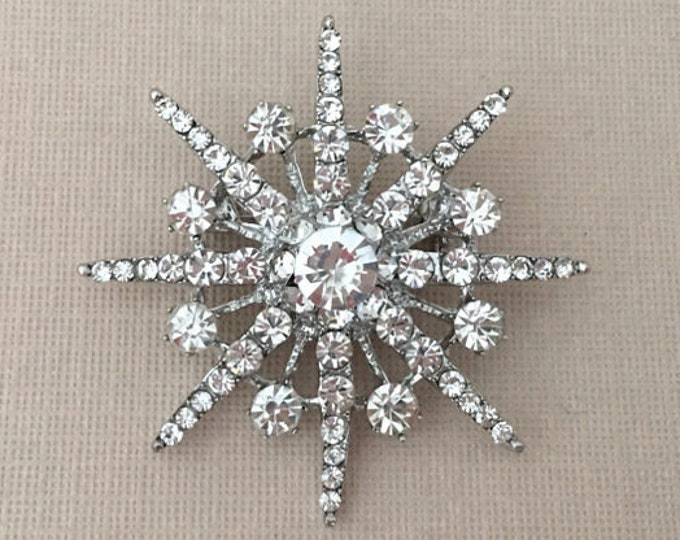 Silver Starburst Rhinestone Brooch Pin