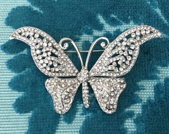 Rhinestone Butterfly Brooch.Butterfly Brooch.Crystal Butterfly Brooch.Butterfly Pin.Wedding.Bridal.Bride.Silver Brooch.Butterfly Pin.Broach