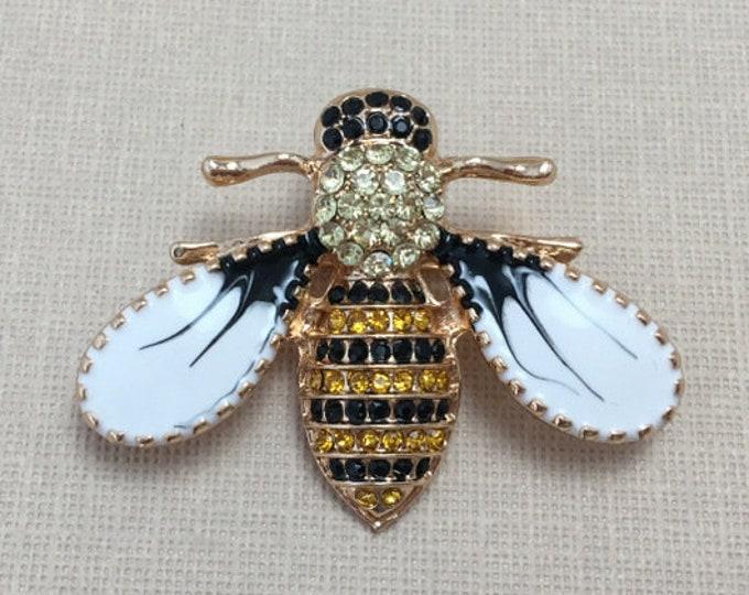Black Enamel Bee Brooch Pin