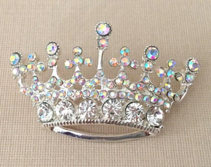 Aurora Borealis & Silver Crown Brooch Pin
