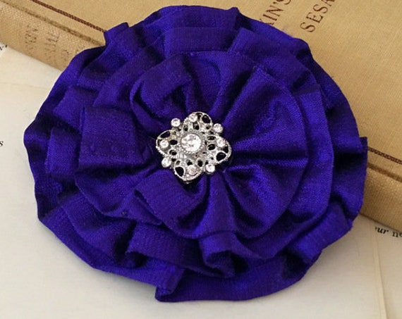 Royal Purple Silk Flower Brooch Pin and/or Hair Clip. Choose your button/bead finish. Handmade.