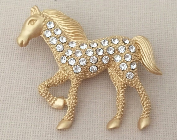 Gold Horse Brooch.Horse Brooch.Gold Horse Pin.Rhinestone horse.Gold Horse broach.Crystal Horse Pin.Pony Brooch pin.stallion.walking horse