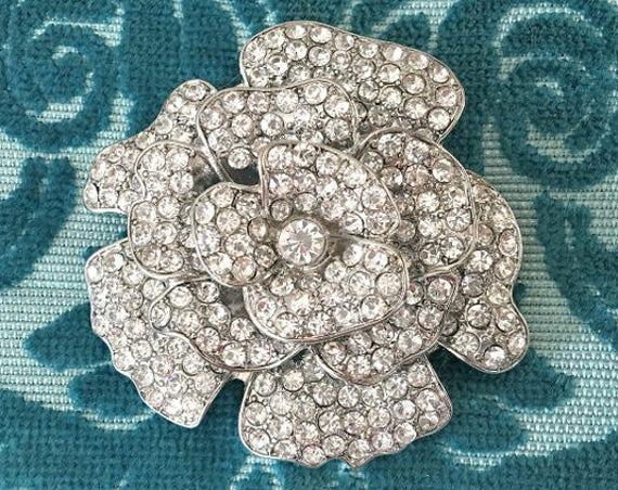 Camellia Flower Brooch.Rhinestone Brooch.Rhinestone Flower Brooch.Crystal Flower brooch.Rhinestone Broach.Crystal Broach.Rhinestone Pin