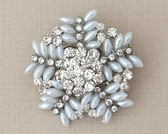 Pearl Snowflake Rhinestone Brooch Pin