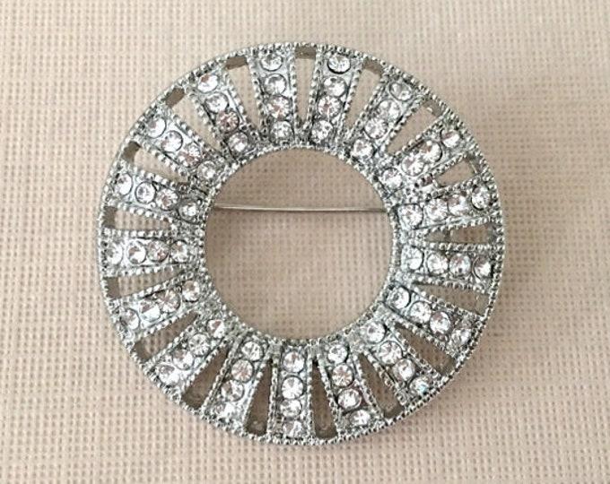 Rhinestone Wreath Brooch Pin. Art Deco Style Jewelry.