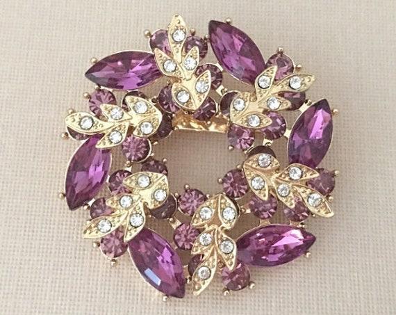 Purple & Gold Wreath Brooch Pin